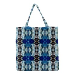 Royal Blue Abstract Pattern Grocery Tote Bags