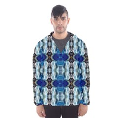 Royal Blue Abstract Pattern Hooded Wind Breaker (Men)