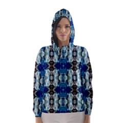 Royal Blue Abstract Pattern Hooded Wind Breaker (Women)