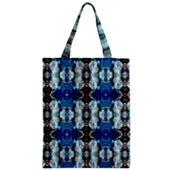 Royal Blue Abstract Pattern Zipper Classic Tote Bags