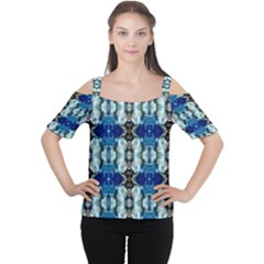 Royal Blue Abstract Pattern Women s Cutout Shoulder Tee