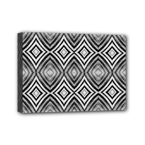 Black White Diamond Pattern Mini Canvas 7  x 5