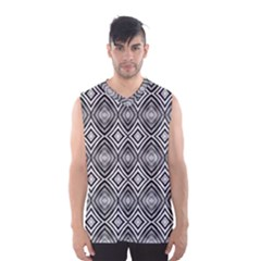 Black White Diamond Pattern Men s Basketball Tank Top