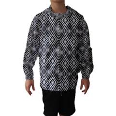 Black White Diamond Pattern Hooded Wind Breaker (Kids)