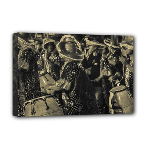 Group Of Candombe Drummers At Carnival Parade Of Uruguay Deluxe Canvas 18  x 12