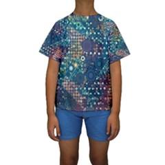 Blue Bubbles Kid s Short Sleeve Swimwear