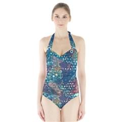Blue Bubbles Women s Halter One Piece Swimsuit