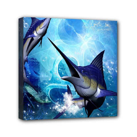 Awersome Marlin In A Fantasy Underwater World Mini Canvas 6  x 6