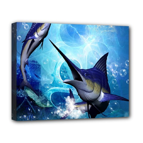 Awersome Marlin In A Fantasy Underwater World Deluxe Canvas 20  x 16