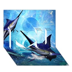 Awersome Marlin In A Fantasy Underwater World I Love You 3D Greeting Card (7x5)
