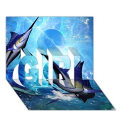 Awersome Marlin In A Fantasy Underwater World Girl 3d Greeting Card (7x5)