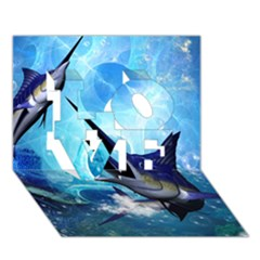 Awersome Marlin In A Fantasy Underwater World LOVE 3D Greeting Card (7x5)