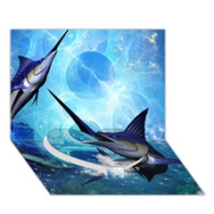 Awersome Marlin In A Fantasy Underwater World Heart Bottom 3D Greeting Card (7x5)