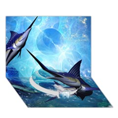 Awersome Marlin In A Fantasy Underwater World Circle Bottom 3d Greeting Card (7x5)