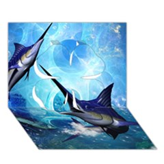 Awersome Marlin In A Fantasy Underwater World Clover 3d Greeting Card (7x5)