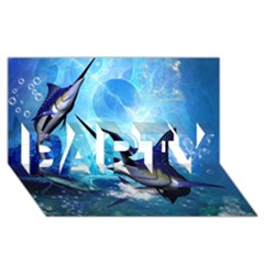 Awersome Marlin In A Fantasy Underwater World PARTY 3D Greeting Card (8x4)