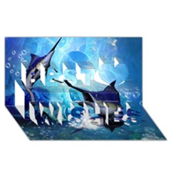 Awersome Marlin In A Fantasy Underwater World Best Wish 3d Greeting Card (8x4)
