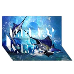Awersome Marlin In A Fantasy Underwater World Merry Xmas 3d Greeting Card (8x4)