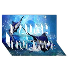 Awersome Marlin In A Fantasy Underwater World Laugh Live Love 3D Greeting Card (8x4)