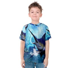 Awersome Marlin In A Fantasy Underwater World Kid s Cotton Tee