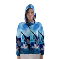 Awersome Marlin In A Fantasy Underwater World Hooded Wind Breaker (women)
