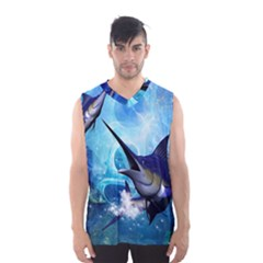 Awersome Marlin In A Fantasy Underwater World Men s Basketball Tank Top