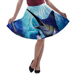 Awersome Marlin In A Fantasy Underwater World A-line Skater Skirt