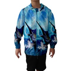 Awersome Marlin In A Fantasy Underwater World Hooded Wind Breaker (Kids)