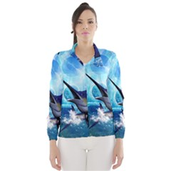 Awersome Marlin In A Fantasy Underwater World Wind Breaker (Women)