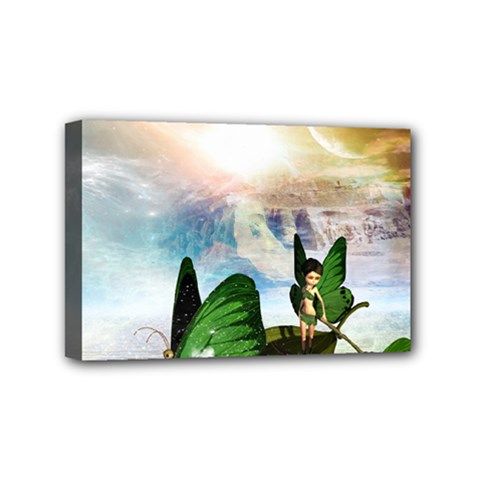 Cute Fairy In A Butterflies Boat In The Night Mini Canvas 6  x 4