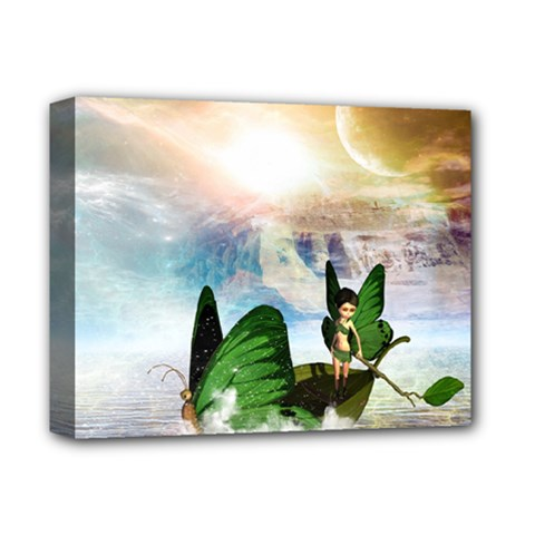 Cute Fairy In A Butterflies Boat In The Night Deluxe Canvas 14  x 11