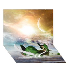 Cute Fairy In A Butterflies Boat In The Night Heart Bottom 3D Greeting Card (7x5)