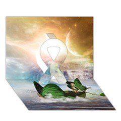 Cute Fairy In A Butterflies Boat In The Night Ribbon 3d Greeting Card (7x5)