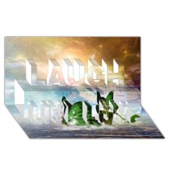 Cute Fairy In A Butterflies Boat In The Night Laugh Live Love 3d Greeting Card (8x4)