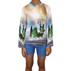 Cute Fairy In A Butterflies Boat In The Night Kid s Long Sleeve Swimwear