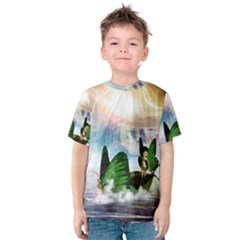 Cute Fairy In A Butterflies Boat In The Night Kid s Cotton Tee
