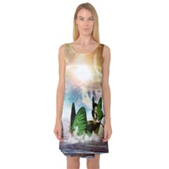 Cute Fairy In A Butterflies Boat In The Night Sleeveless Satin Nightdresses