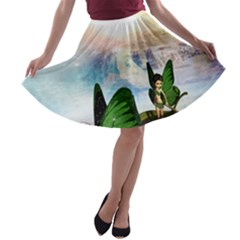 Cute Fairy In A Butterflies Boat In The Night A-line Skater Skirt