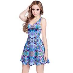 Elegant Turquoise Blue Flower Pattern Reversible Sleeveless Dresses