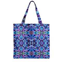 Elegant Turquoise Blue Flower Pattern Zipper Grocery Tote Bags