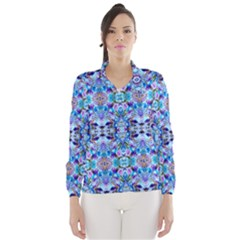 Elegant Turquoise Blue Flower Pattern Wind Breaker (Women)