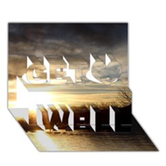 SETTING SUN AT LAKE Get Well 3D Greeting Card (7x5)