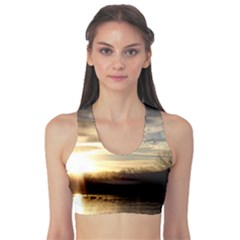 SETTING SUN AT LAKE Sports Bra