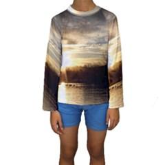 Setting Sun At Lake Kid s Long Sleeve Swimwear