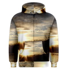 SETTING SUN AT LAKE Men s Zipper Hoodies