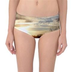 SETTING SUN AT LAKE Mid-Waist Bikini Bottoms