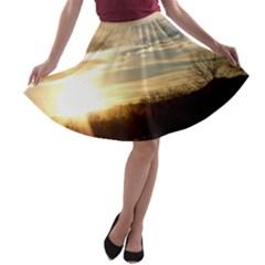 Setting Sun At Lake A Line Skater Skirt