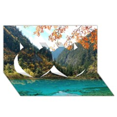 Jiuzhaigou Valley 3 Twin Hearts 3d Greeting Card (8x4)