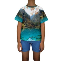 JIUZHAIGOU VALLEY 3 Kid s Short Sleeve Swimwear