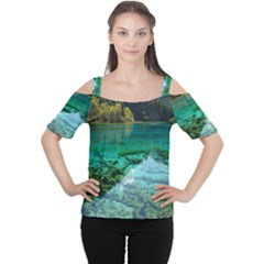 Jiuzhaigou Valley 2 Women s Cutout Shoulder Tee